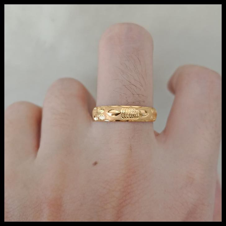 Cincin Emas Asli Model Bangkok Kadar 700 70% 18K 22 0,5Gram 1Gram 8 9 - Putih