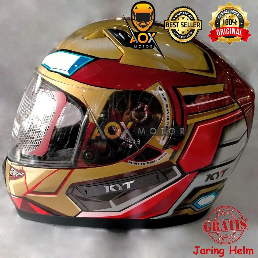Helm KYT K2 Rider Marvel Iron Man Red Maroon Gold Fullface (ongkir 2kg), GRATIS Jaring Helm
