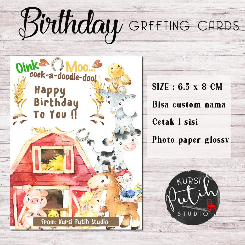 Kartu Ucapan Selamat Ulang Tahun Birthday Greeting Card Tema Barn Shopee Indonesia