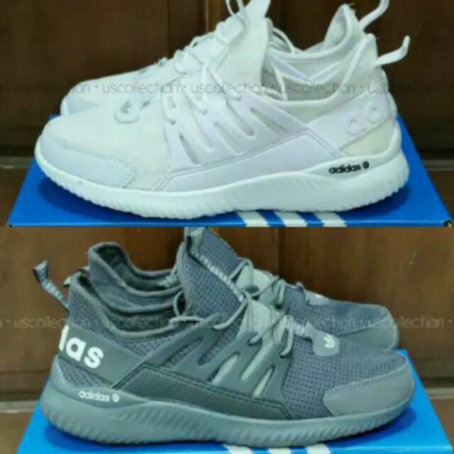 Sepatu Adidas Alphabounce Sneakers Cewek Cowok Grey Full White