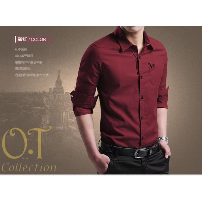PROMO [Miller maroon OT] pakaian pria kemeja slim fit warna maroon - Maroon BEST SELLER