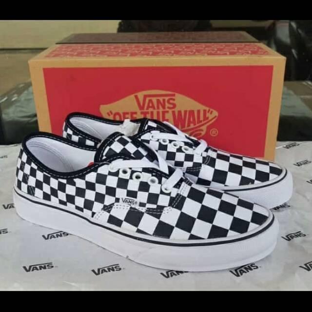 Sepatu Vans Authentic Checkerboard Black White - Vans Authentic ... 23aa703ec6