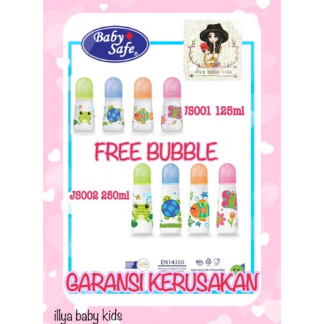 TERMURAH Botol susu baby safe feeding bottle motif animal 250ml JS002 & JS001 + FREE BUBBLE