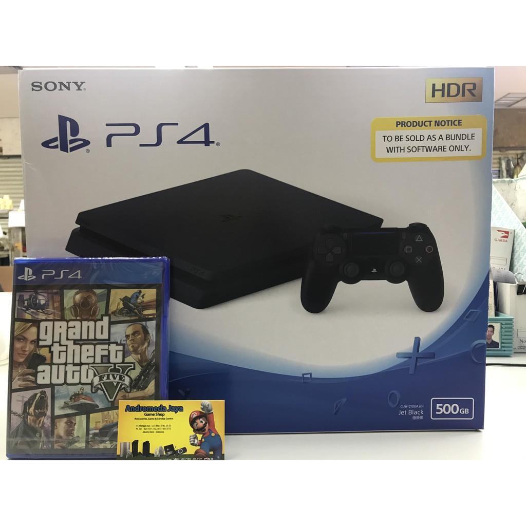 Sony Ps4 Slim Playstation 4 500gb Cuh 2106a B01 Bundle Gta V 2006a Shopee Indonesia