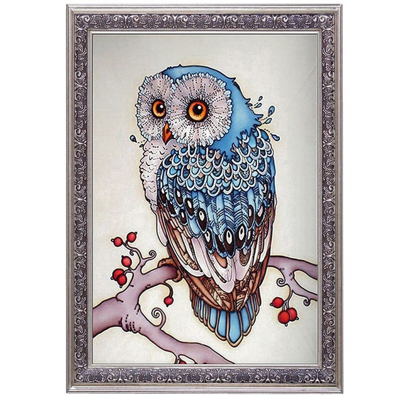 Diy Lukisan Diamond 5d Dengan Gambar Burung Hantu Warna Biru Untuk
