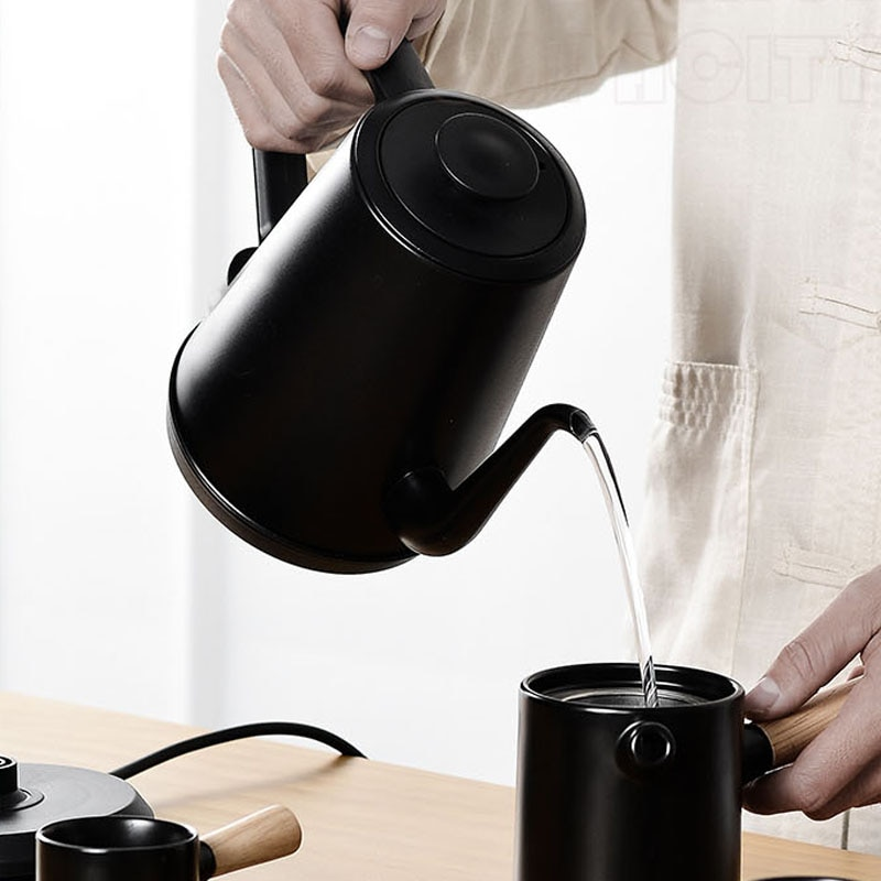 High Quality... 1L Electric Coffee Kettle Long Mouth Kettle 1000W Boiling Tea Pot Stainless Steel