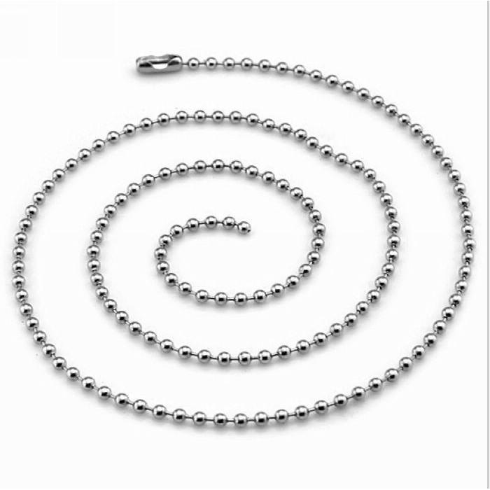 Kalung Titanium Stainless Steel Biji Lada 2mm Ball Beads Necklace