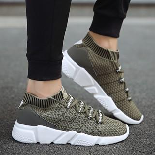 Sepatu pria Fashion 2018 men high top sock sport shoes casual man running sneakers