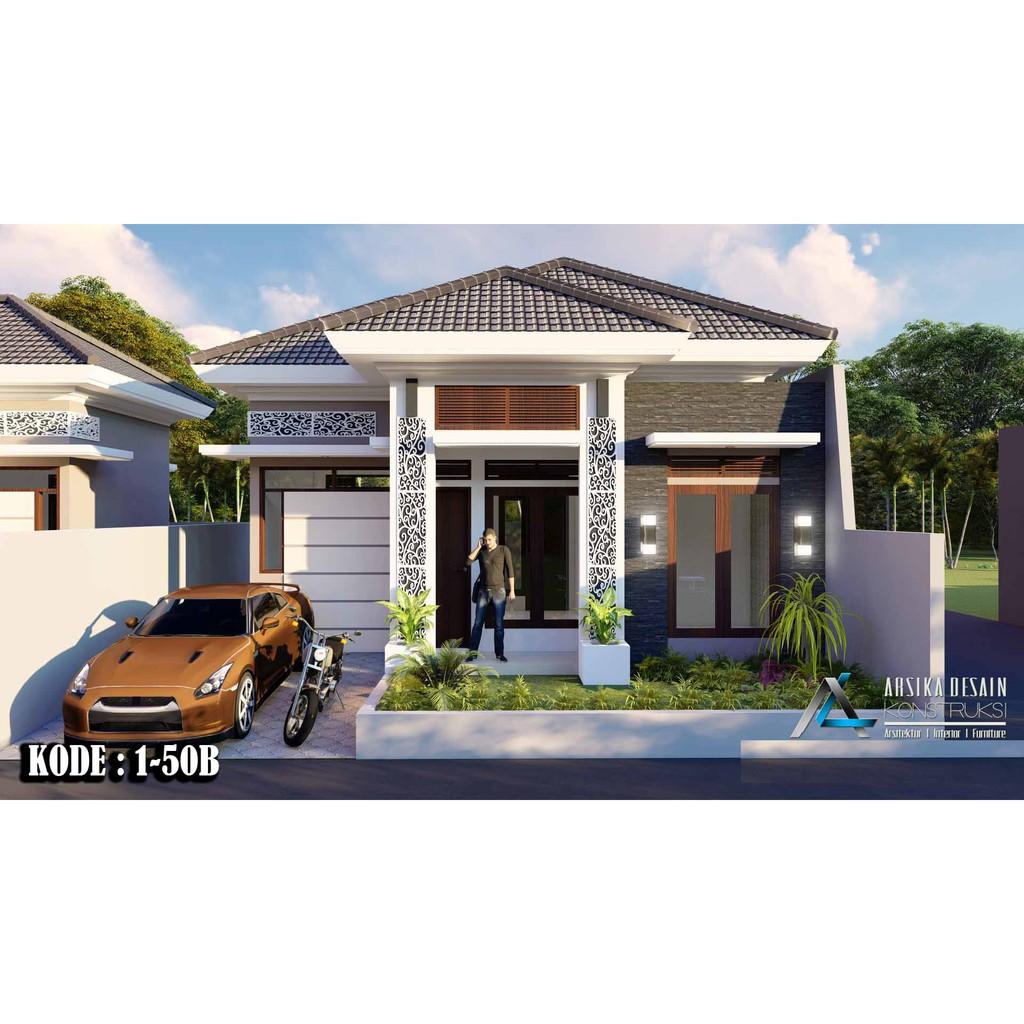 Desain Rumah Type 50 Ukuran 10 X 11 M Kode 1 50b Arsika Desain Shopee Indonesia