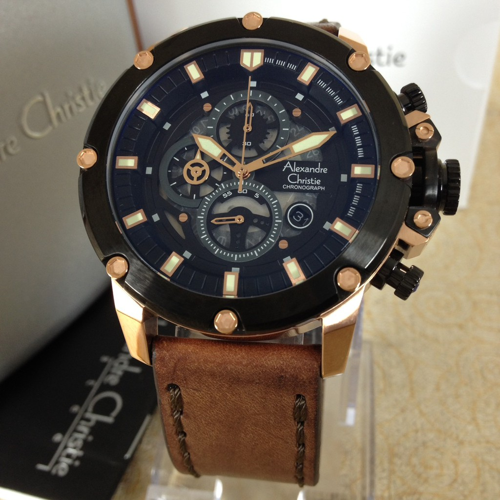 JAM TANGAN PRIA ALEXANDRE CHRISTIE 6410 ROSE GOLD MURAH | Shopee Indonesia