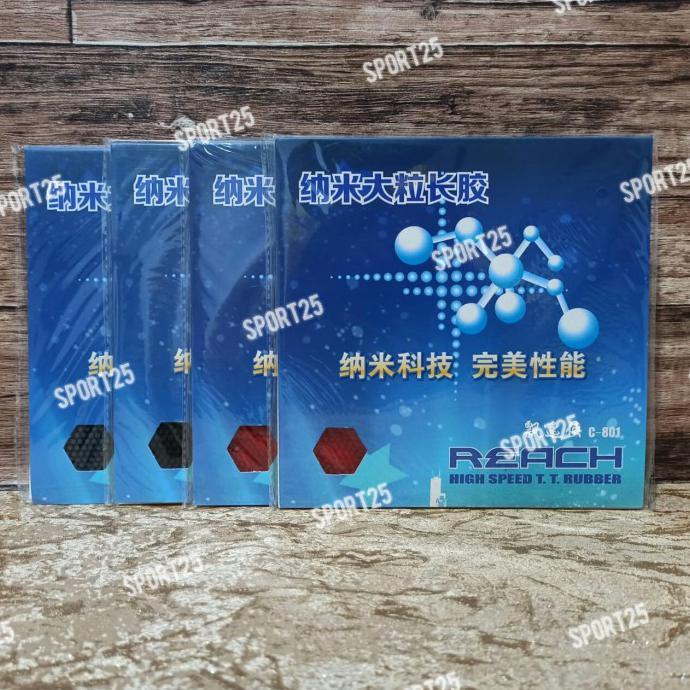 [ COD] Karet / Rubber Pingpong Bintik Panjang Reach C801 C 801 OX ORIGINAL - Merah BERMUTU Kode 1200