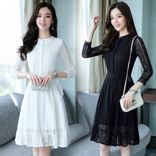 Slim Fashion Midi Lace Dresses Casual Long Sleeve Vestidos Women Office Dress Shopee Indonesia