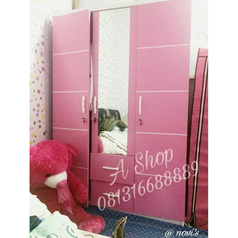 Lemari Pakaian 3 Pintu Minimalis Pink Murah Free Onkir Jabodetabek Merah Muda Shopee Indonesia