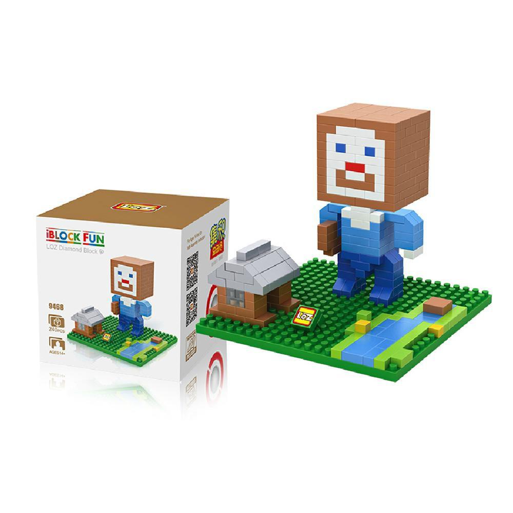 Nano Block Bricks Loz Large 9468 Minecraft Steve House Shopee Indonesia