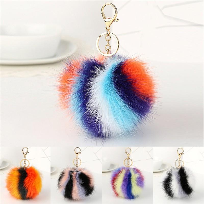 Rabbit Fluffy Pompom Ball Handbag Car Pendant Charm Key Chain Keyrings new.