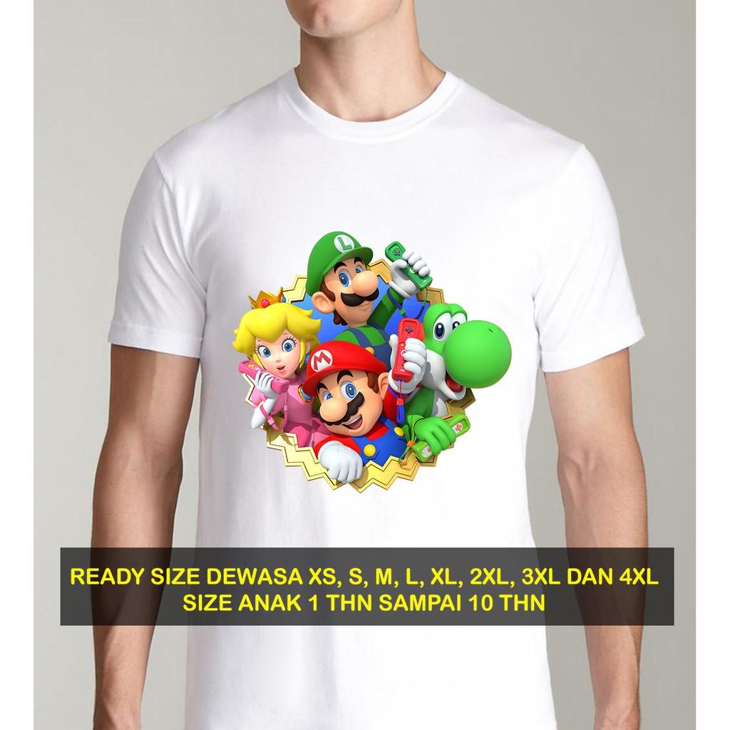 Butikonline83 Kaos Putih Pria Baju Wanita Pakaian Anak Distro S M L Xl Sm001 Super Mario Shopee Indonesia