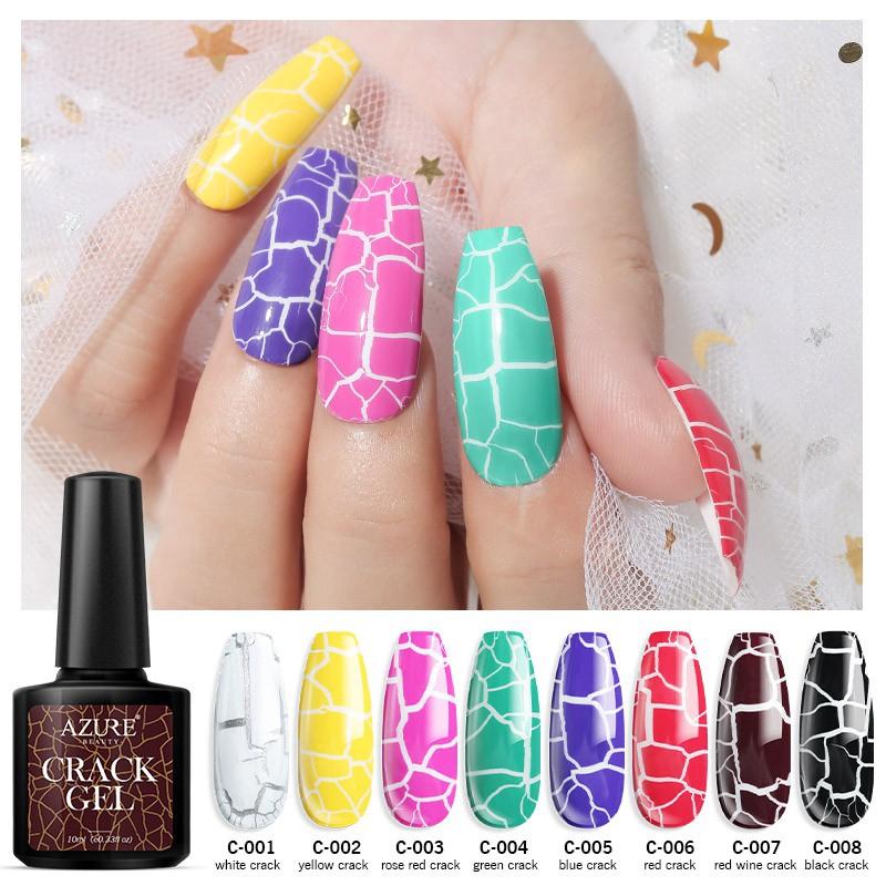 Azure Crack Gel Nail Polish 8 Colors Crackle Gel Uv Led Soak Off Manicure Gel Varnish Nail Art 10ml Shopee Indonesia