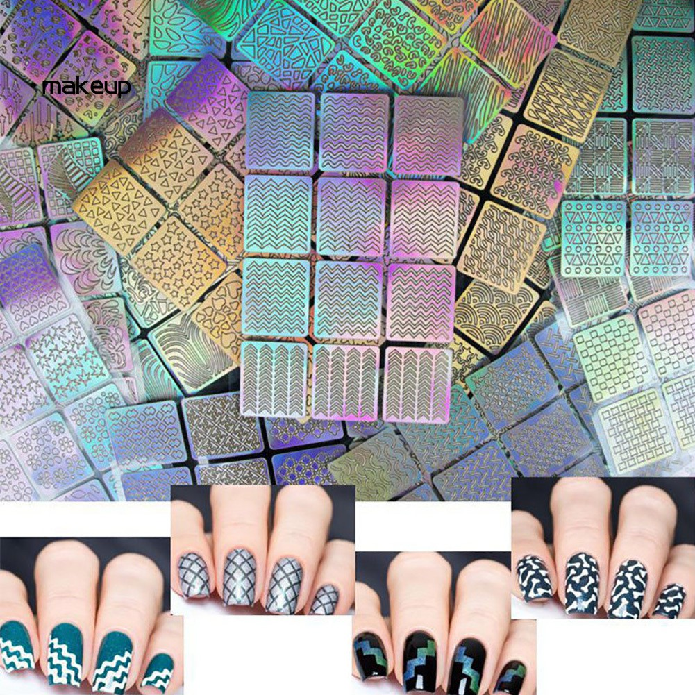 Mk 3 Sheets Nail Art Transfer Stickers Hollow Stencil Decal Manicure Tip Decor Tool Shopee Indonesia
