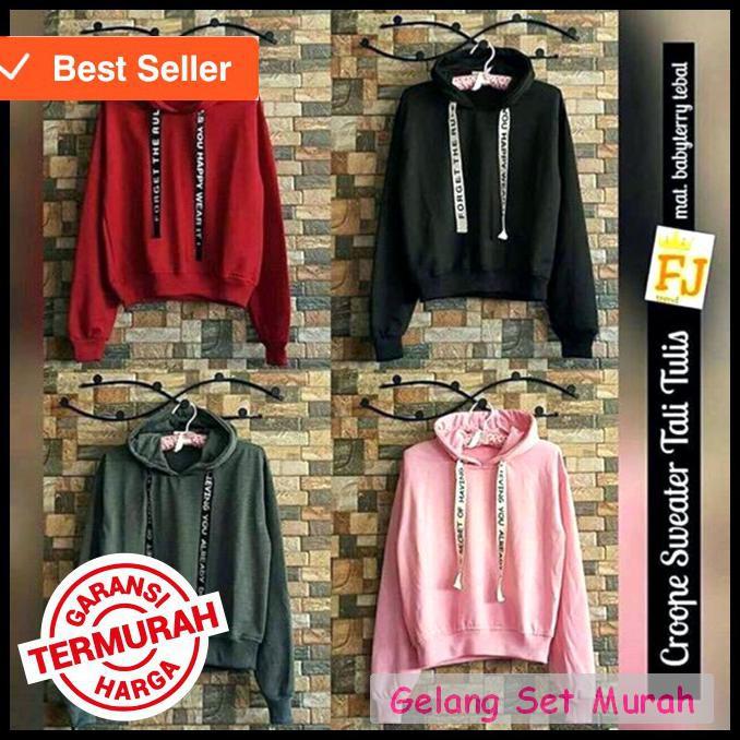 Baju Fashion Hoodie letter sweater tali tulis Bahan bebyteri soft fit L  Recomend 1R  ab0144d1f8