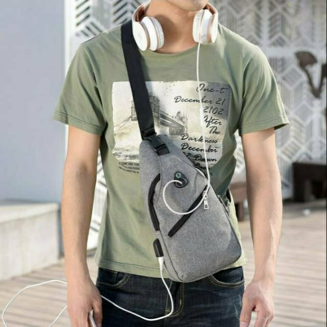 Tas selempang slempang pria USB chestbag Anti Maling Import SM13 | Shopee Indonesia