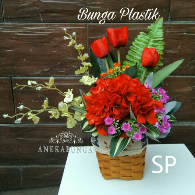 Rangkaian Bunga Plastik vase rotan vas hiasan tempel dinding pot pajangan  meja matahari palsu SP26  610c727bf4