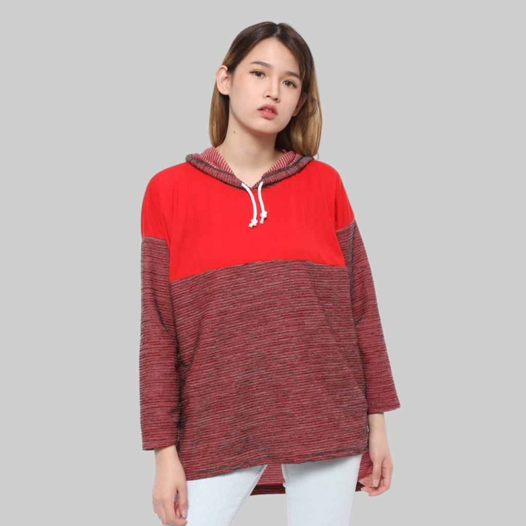 Baju Hoodie Murah Oversize Wanita Lengan Panjang Merah