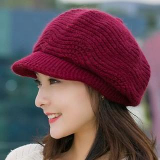 Jual ⊙✻Hat wanita musim dingin versi Korea menebal baret mode wol topi kelinci setengah baya dan