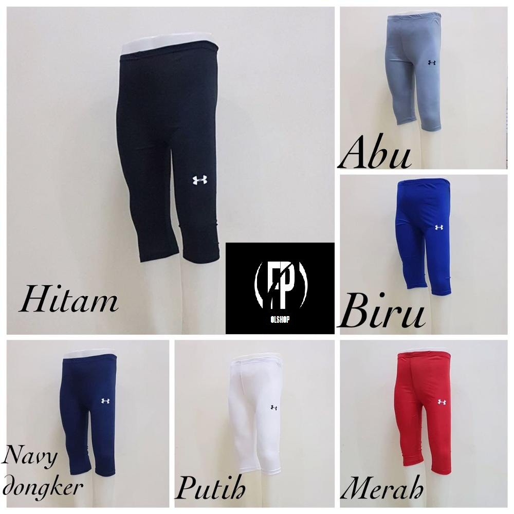 Celana Legging Baselayer Underarmor 3 4 Legging Manset Olahraga Futsal Renang Gym Training Shopee Indonesia