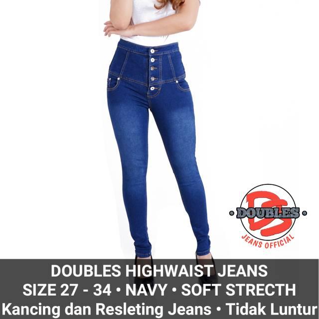 Jeans Hw Navy Wanita Cewek High Waist Softjeans Kancing 5   Shopee Indonesia