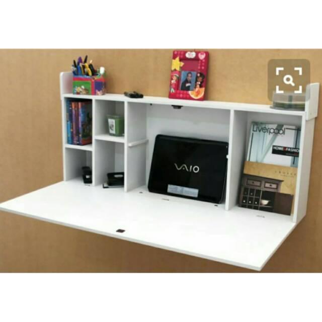 Meja belajar melayang Meja komputer meja lipat dinding meja laptop meja  kerja meja gantung rak buku | Shopee Indonesia