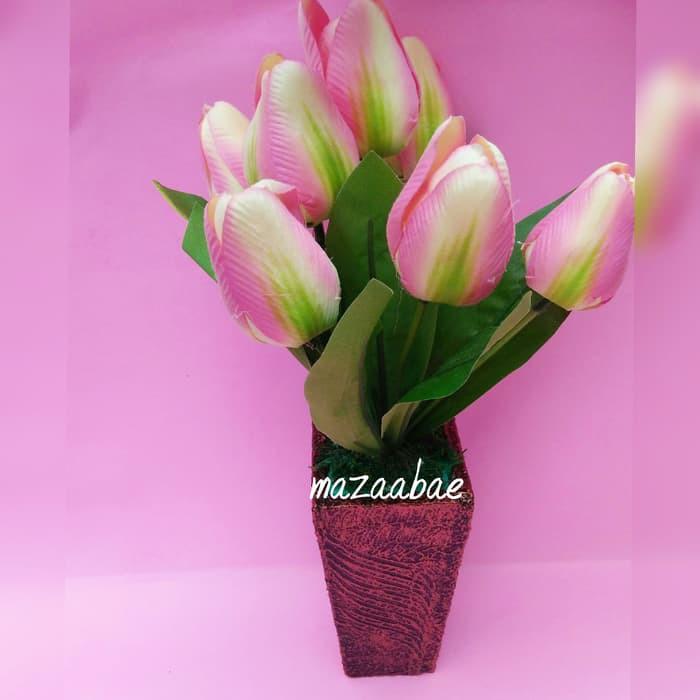 Jual buket bunga artificial dan vas shaby chic Murah .