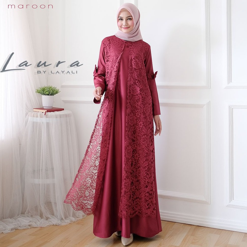 Gamis Syari Brokat Terbaru Ori High Quality Fashion Muslim Laura By Layali