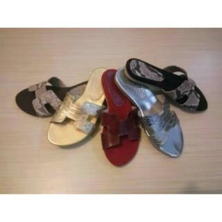 Sendal wanita kulit asli flat teplek flip flop sandals ...
