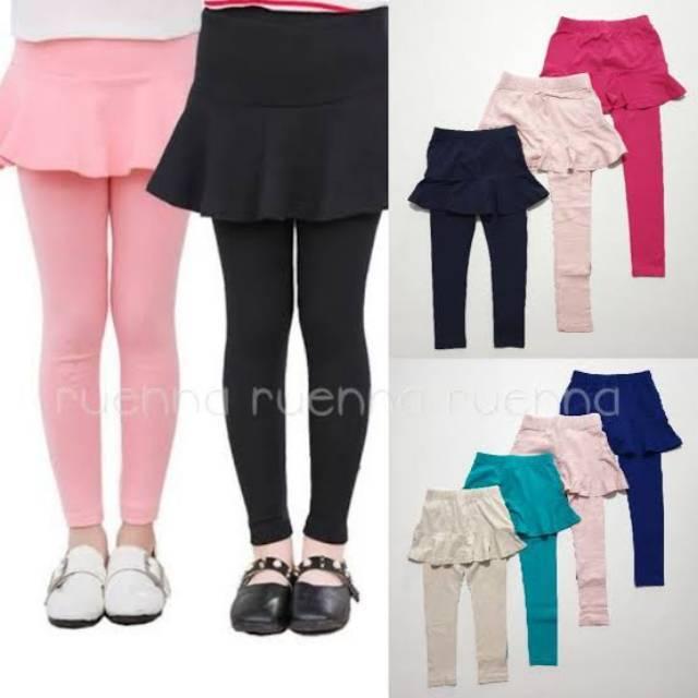 Legging Skirt 5 6 Tahun Polos Anak Perempuan Sd Rok Celana Panjang Shopee Indonesia