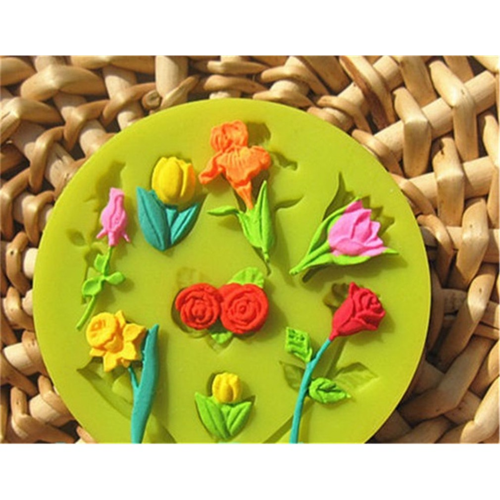 3D Heart Flowers Silicone Fondant Mold Cake Chocolate Decorating Tools | Shopee Indonesia