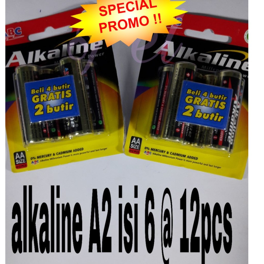 Baterai Abc Battery Alkaline Aaa Batre A3 Isi 6 Shopee Indonesia Super Power 2pcs