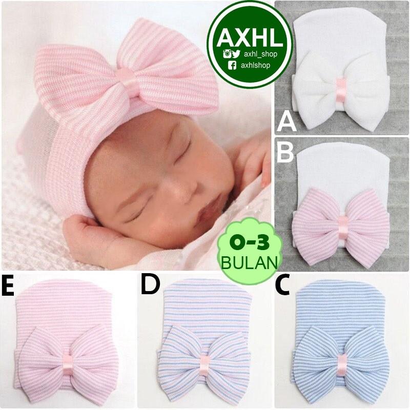 Baby RIBBON BEANIE Hat Topi Kupluk Bayi Anak Perempuan 0-3 Bulan Murah Warna Pink Putih Biru Pita | Shopee Indonesia