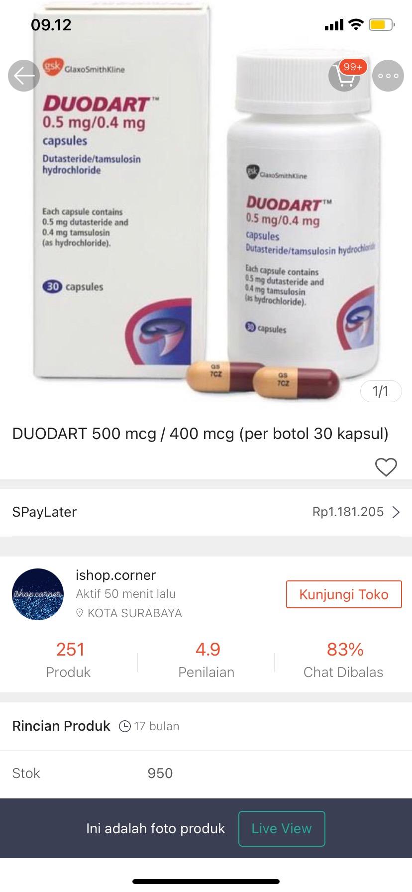 Duodart 500 Mcg 400 Mcg Per Botol 30 Kapsul Shopee Indonesia