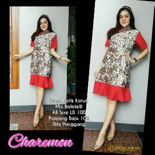 Dress Batik Kombinasi Dress Party Dress Pesta Dress Batik Modern