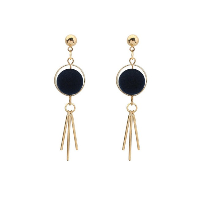 LRC Anting Gantung Fashion Silver Color+black Tassel Decorated Earrings | Shopee Indonesia