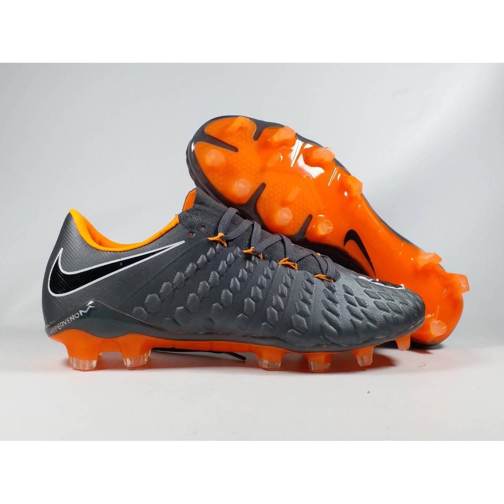 2057c92078510 Sepatu Bola Nike Hypervenom Phantom III Elite Dark Grey Orange FG Replika  Impor | Shopee Indonesia