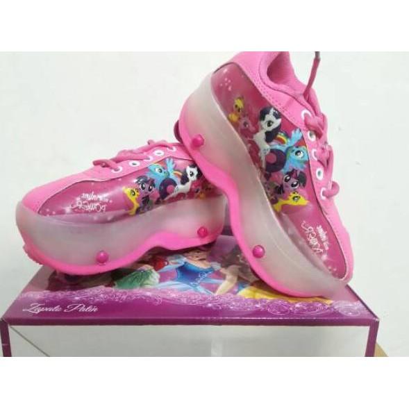 O Sepatu Roda 4 Anak Cewe Frozen Kuda Poni Little Pony Pink