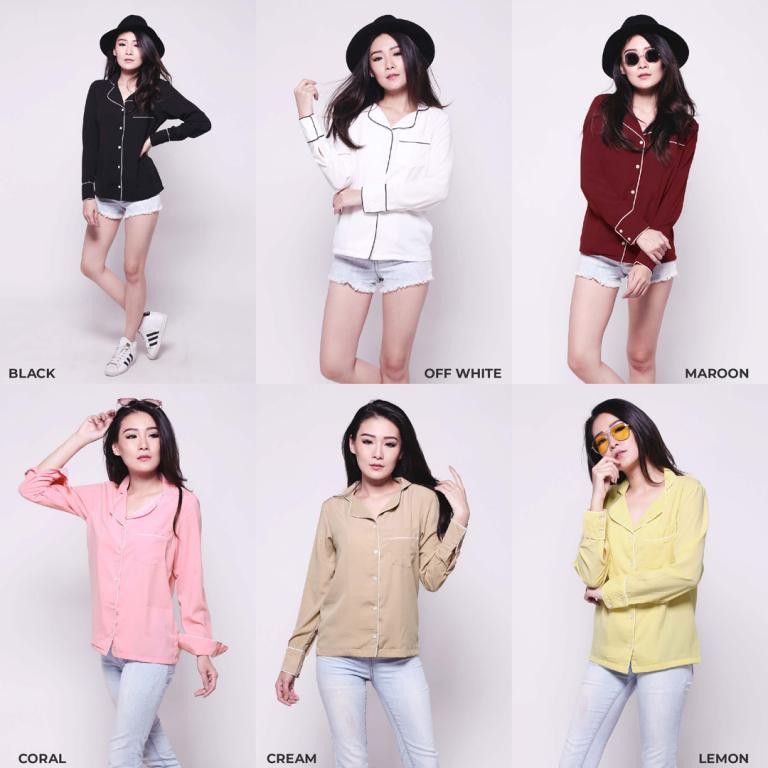 Kemeja Wanita Lengan Panjang Size M/L/XL 6 warna - Baju Atasan Jumbo