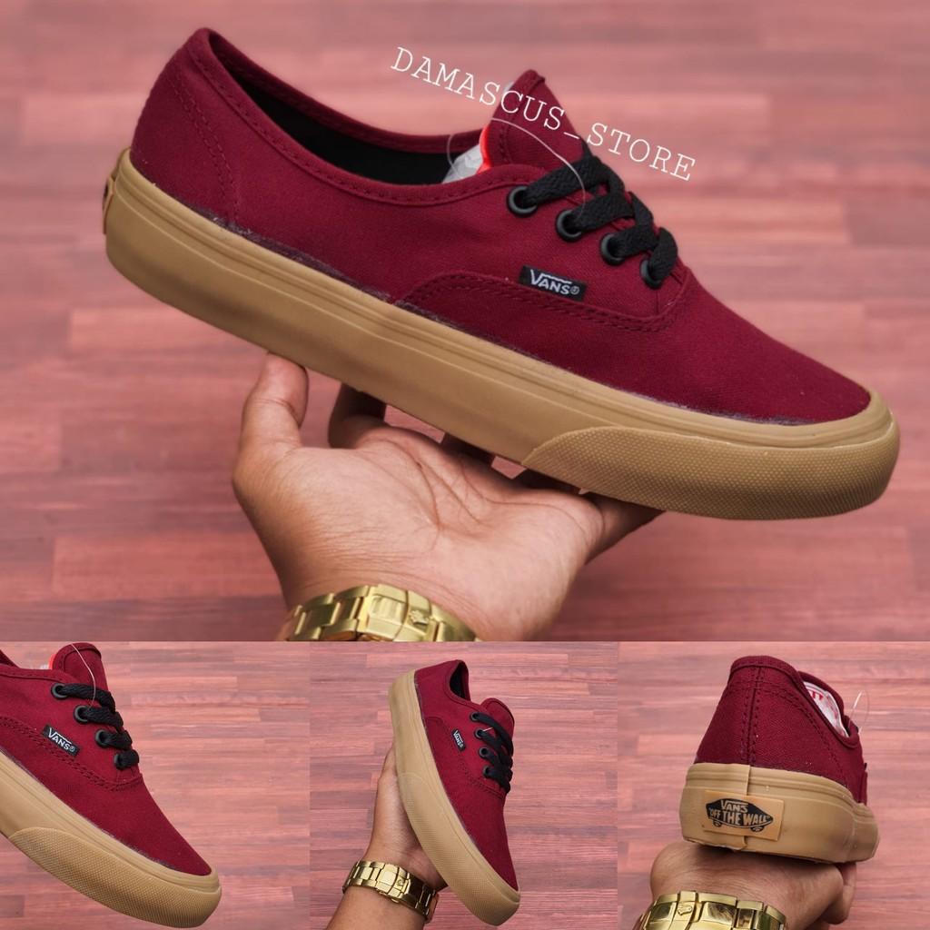 Sepatu Vans Authentic Port Royale Maroon Merah Marun Sole Gum
