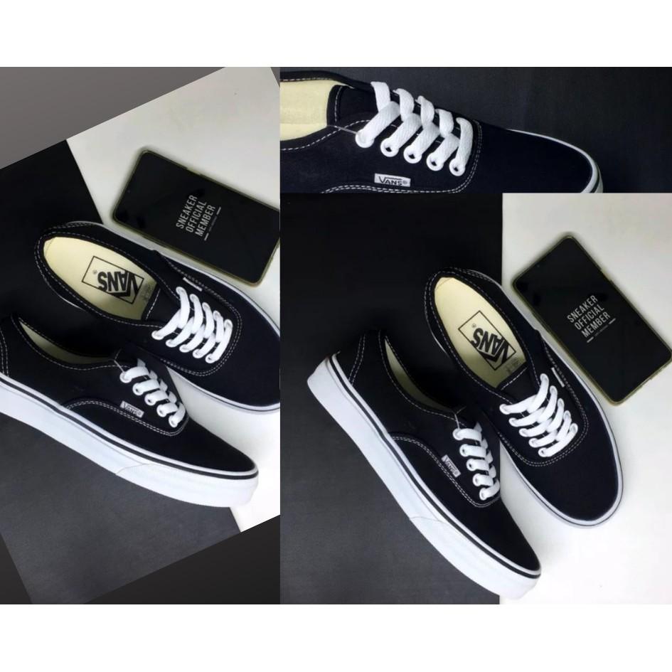 Sepatu Vans Cewek Authentic Premium China Ifc Black White Hitam
