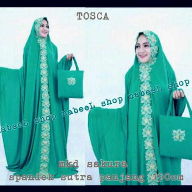 Mukena terusan spandek sutra abaya terbaru cantik dan elegan renda bordir sakura tosca   Shopee Indonesia