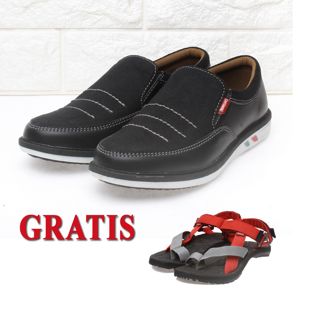 Salvo Sepatu Denim Slip On Pria Sc02 Biru Shopee Indonesia Kasual Coklat