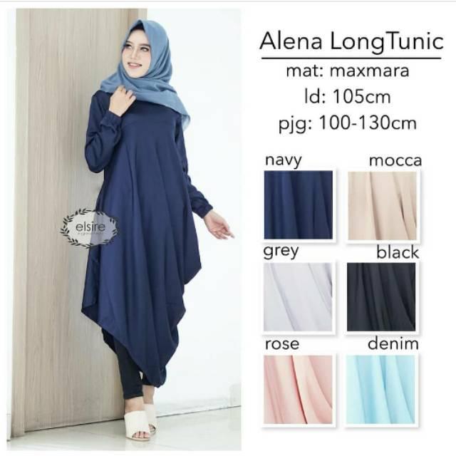 Baju Tunik Kekinian Wanita Alena Long Tunic Atasan Muslim Terbaru ... 5afb9d52a4
