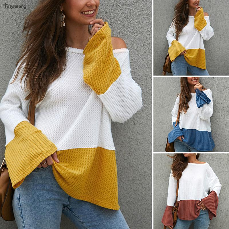 Women's Color Block Round Neck Loose Long Flared Sleeve Jumper Knitted Casual Stylish Tops