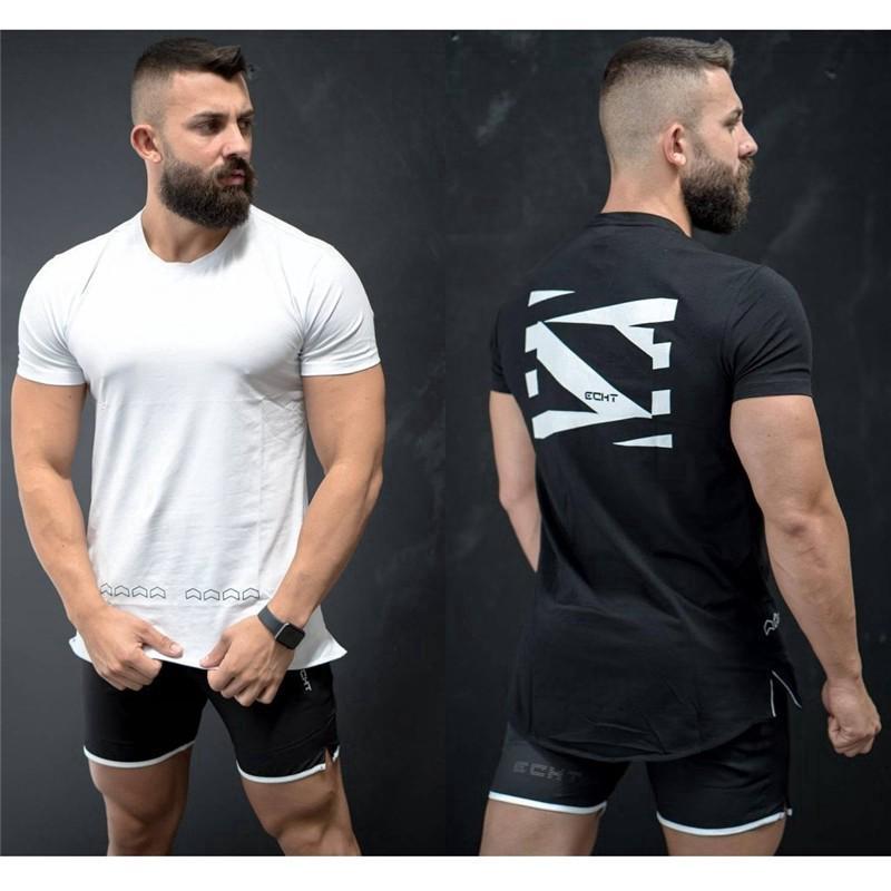 Musim-panas-pria-Fashion-Sport-T-shirt-Kembali-. Musim panas pria Fashion Sport T-shirt Kembali Cetak Warna Solid Lengan Pendek Tees